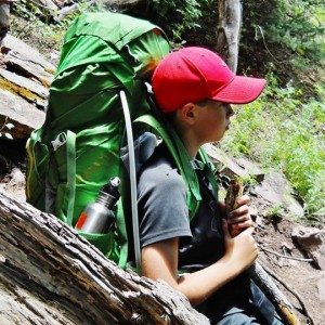 Ginny's son Joel with his Hiking Gear strapped on.