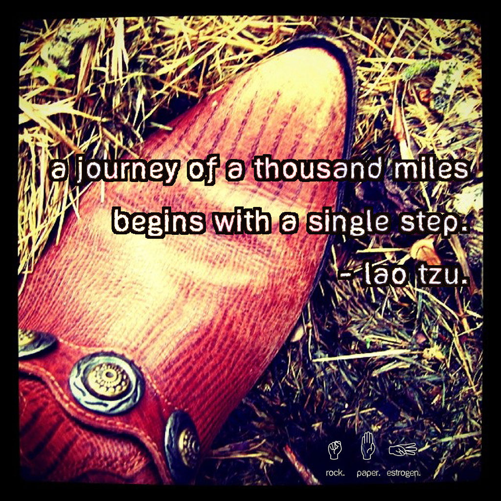 A journey of a thousand miles begins with a single step. -- Lao Tzu.
