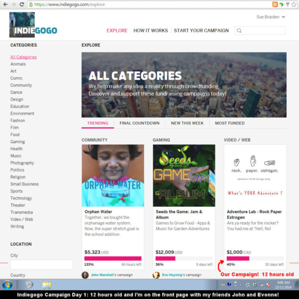 Our Indiegogo Campaign is only 12 hours old and already 40% funded and on the front page