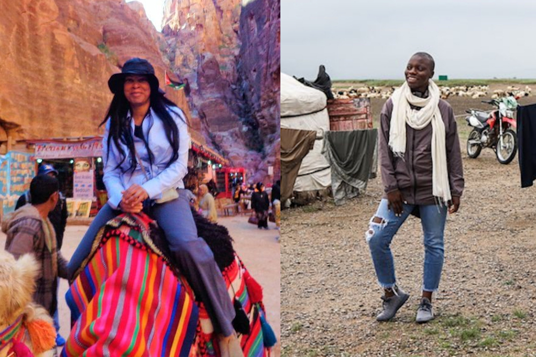 Woni Spotts (left) and Jessica Nabongo (right), two Adventure Divas who shared the goal to be recognized as the first black woman to travel every country in the world.