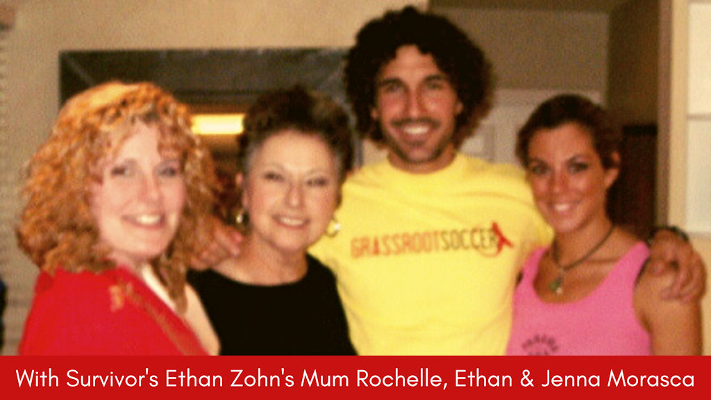 Sue Braiden with Survivor TV show winners Ethan Zohn and Jenna Morasca and Ethan's mum Rochelle.